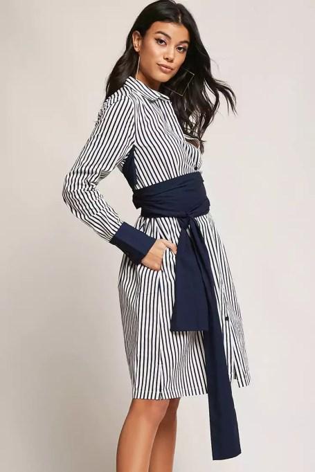 Must-Have Long Sleeve Dresses   Striped Tie Waist Shirt Dress
