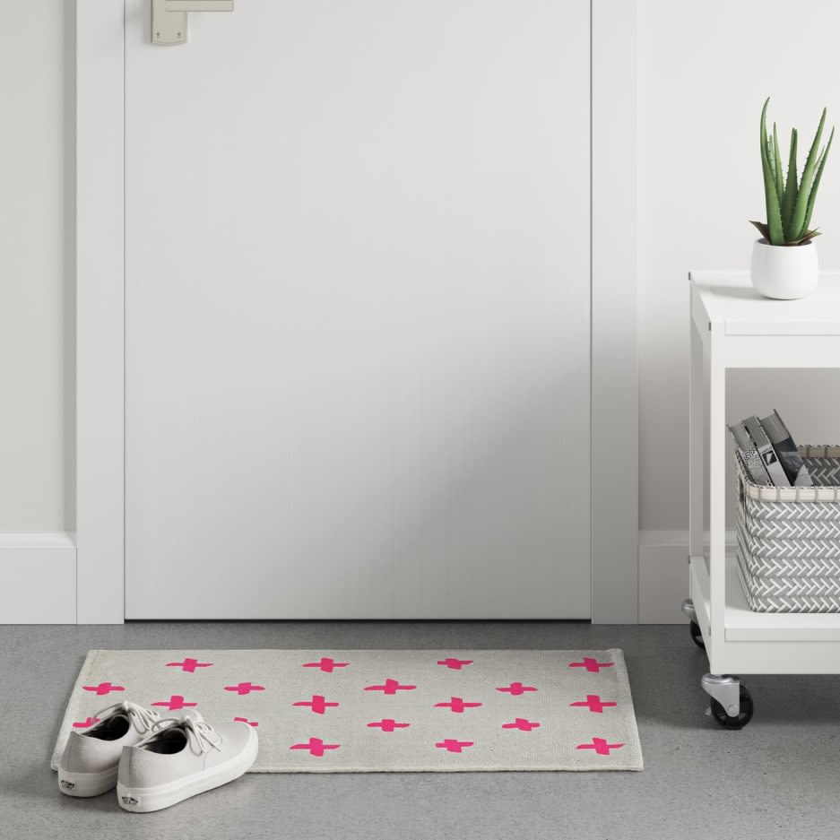 Affordable Dorm Decor Woven Pink Accents Rug