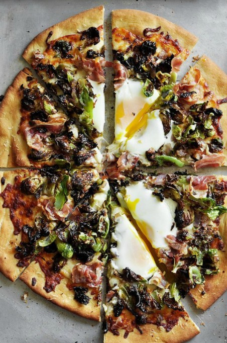 Fall brunch recipes: brussels sprouts and pancetta breakfast pizza