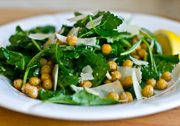 Baby Kale Salad with lemon, Parmesan and Crispy Roasted Chickpeas