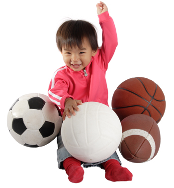Baby with Sports Balls