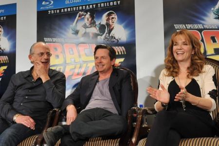 Back to the Future cast Christopher Lloyd, Michael J Fox and Lea Thompson reunite