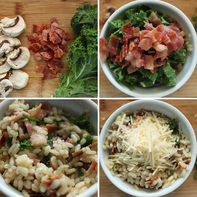 bacon kale and mushroom risotto