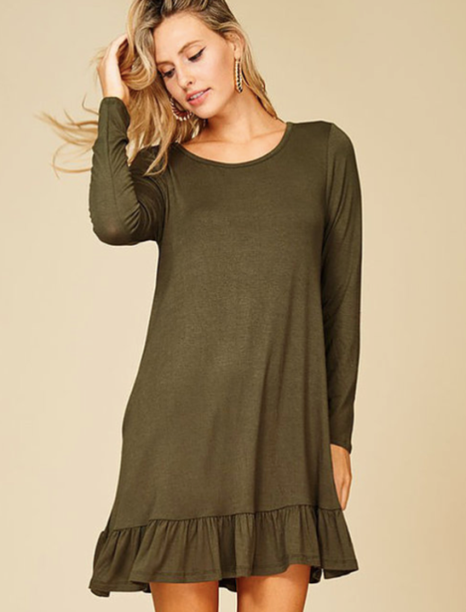 Must-Have Long Sleeve Dresses | Olive Ruffled Bottom Long Sleeve Dress