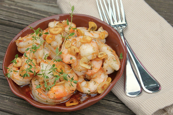 shrimp with garlic and chili oil