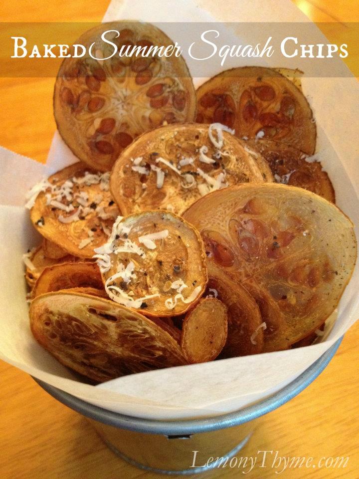 Baked summer squash chips