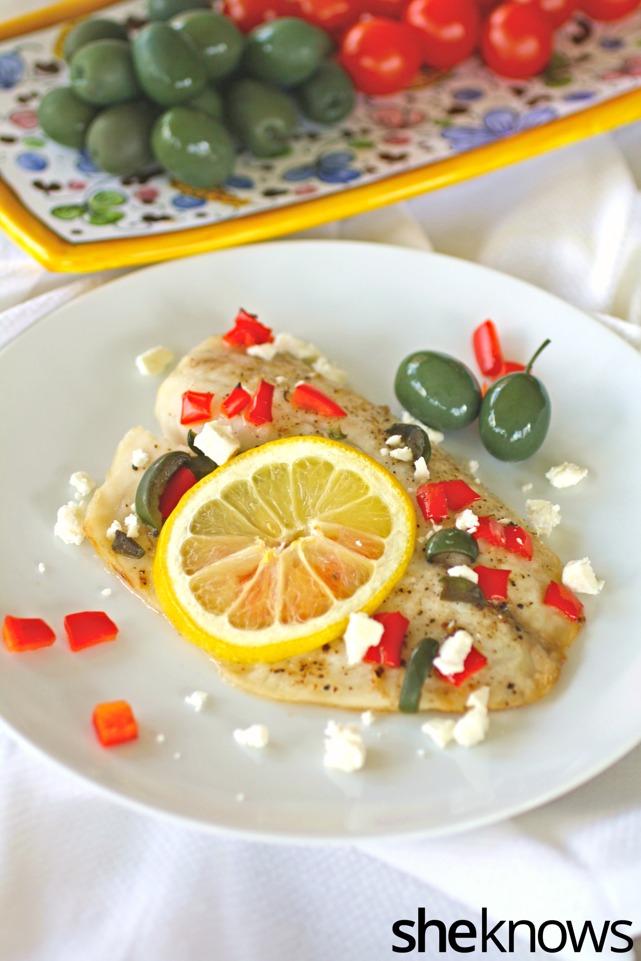 Baked tilapia with olives red pepper and feta recipe