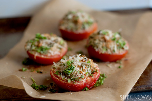 Baked asiago summer tomatoes