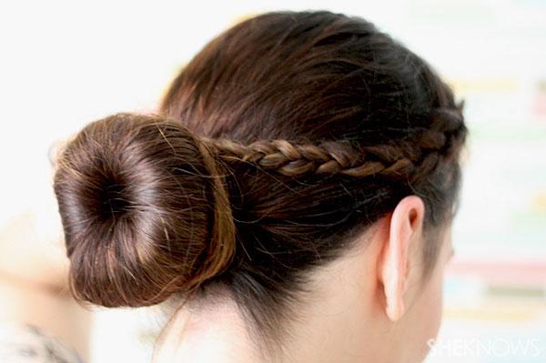 Ballerina bun braid tutorial use pins and hairspray to finish