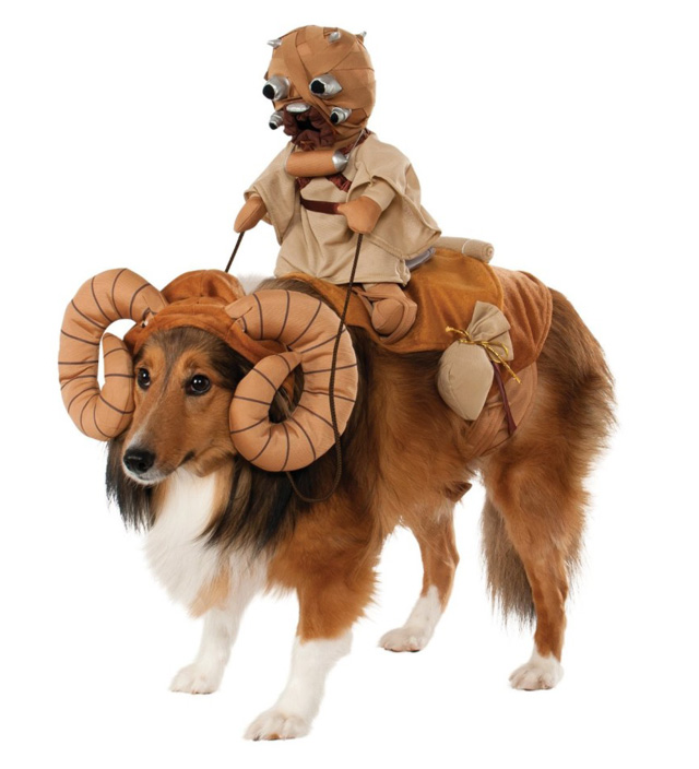 Star Wars-inspired Bantha with Tusken Raider costume for large dogs