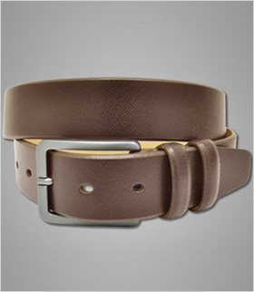 A brown leather belt