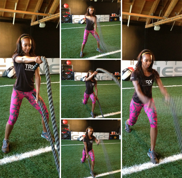 Quarter Squat with alternating waves and reverse lunge
