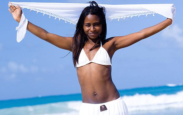 single girl on beach
