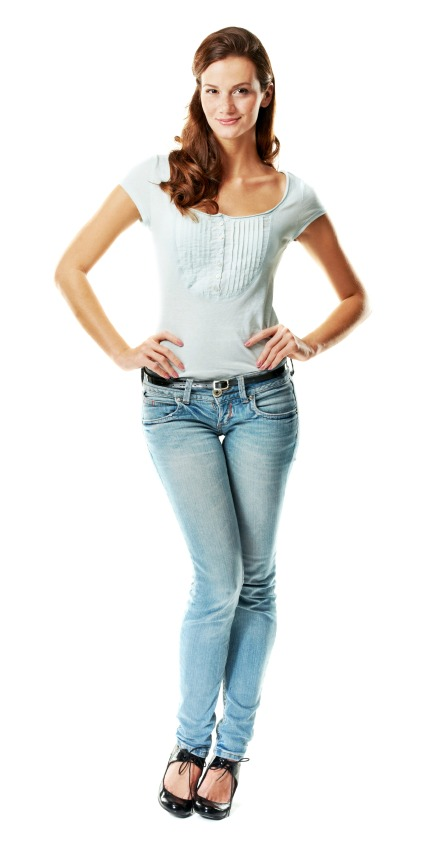 beautiful woman wearing denim jeans