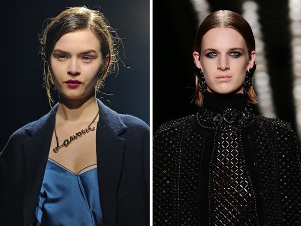 Dark lip and grunge makeup at Fall Fashion Week