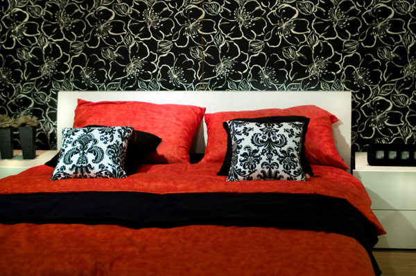 Bedroom with accent wallpaper