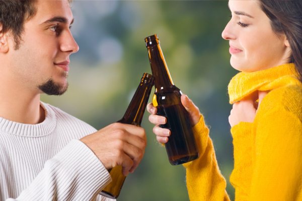 Couple Enjoying Beer in the Fall