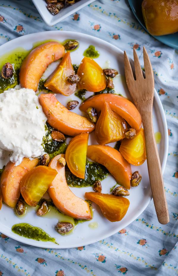 beet peach salad