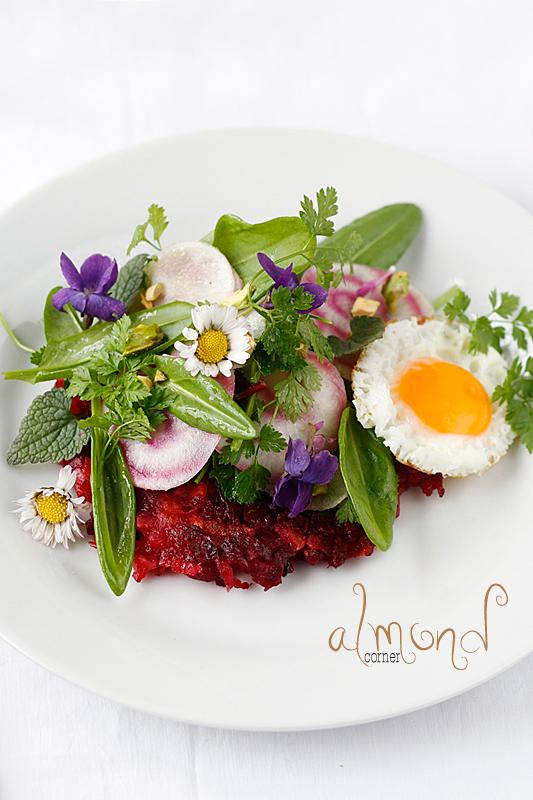 beet apple sunchoke flower salad