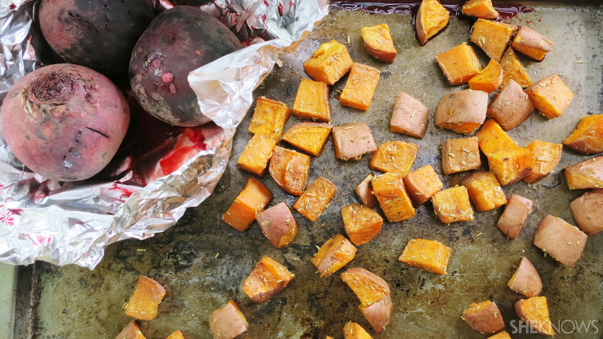 Sweet potato and beet sald | Sheknows.ca - beets and sweet potatoes after cooking
