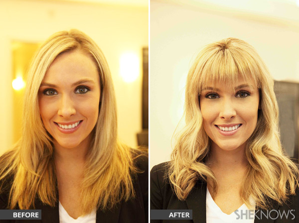 Before and after picture featuring clip in hair piece