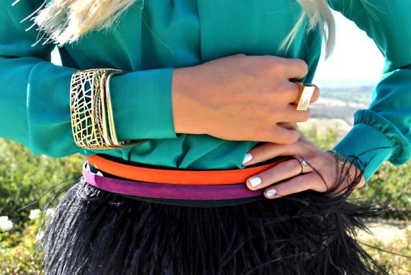 Woman wearing belt
