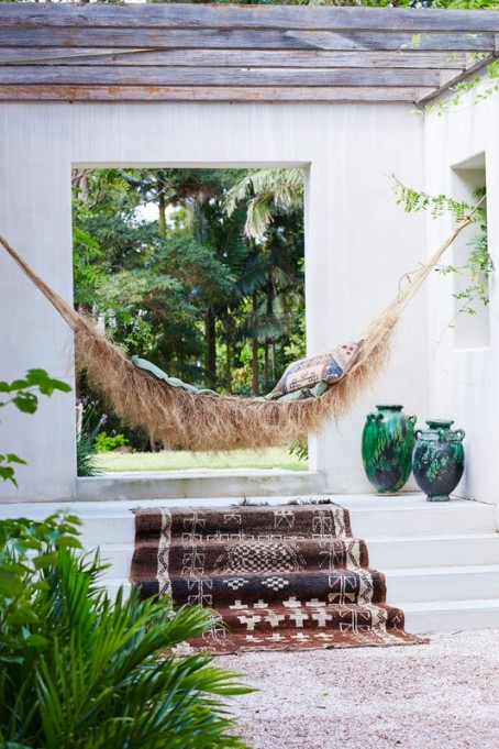 Hammock and a patterned area rug