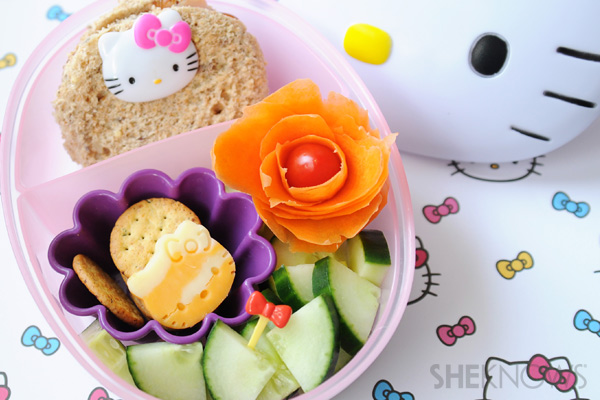 bento box tutorial - carrot flower