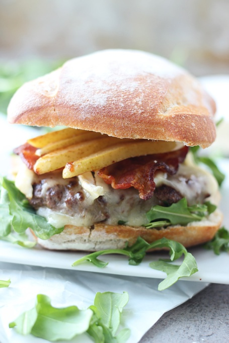 Bison burgers with brie, bacon, and caramelized pears