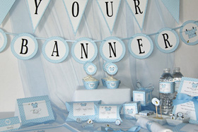 Baby boy blue or baby girl pink printables from Press Print Party