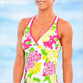 Crescent Bay Floral Wrap Racerback Tankini Top