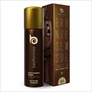Get the look: Best Bronze Sunless Tan Self-Tanning Spray (bestbronze.com, $54)