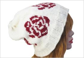Rose pattern beanie