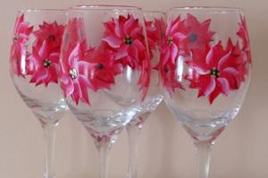 Poinsetta wine glasses