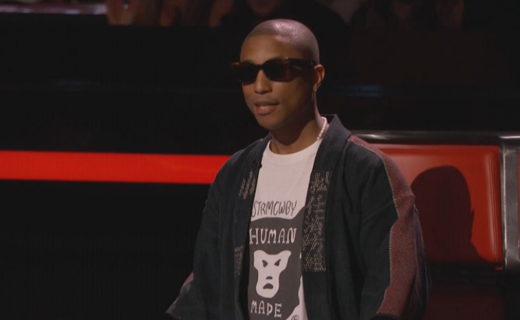 fb5756874729 The Voice  5 Theories as to why Pharrell is always wearing sunglasses