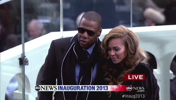 Beyoncé and Jay-Z at President Obama's Inauguration.