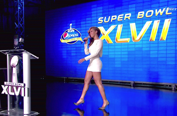 Beyonce onstage before Super Bowl