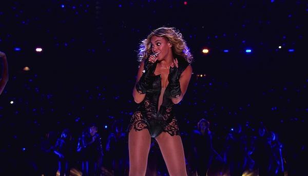 Beyoncé at the Super Bowl halftime show.