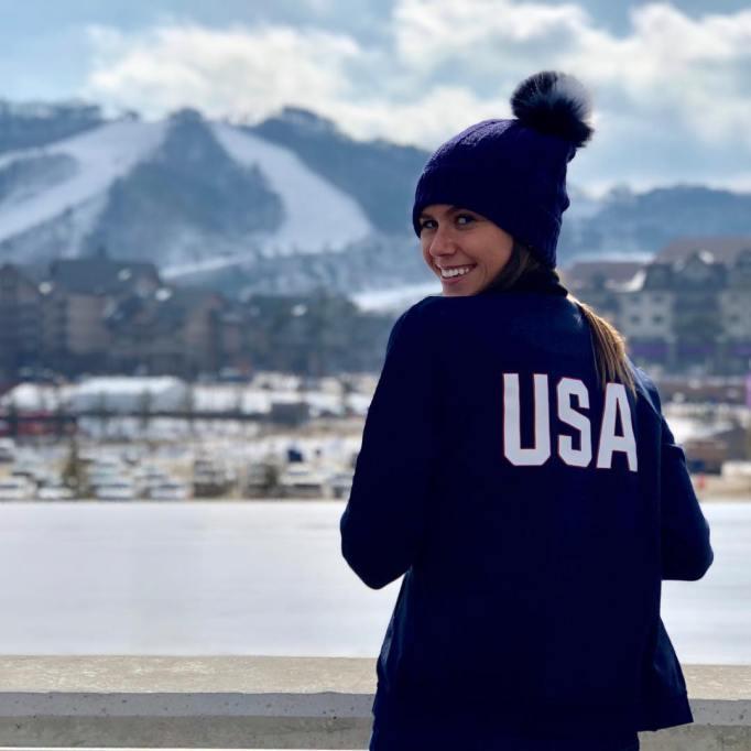 Sophie Flay cheering on Team USA at PyeongChang Olympics