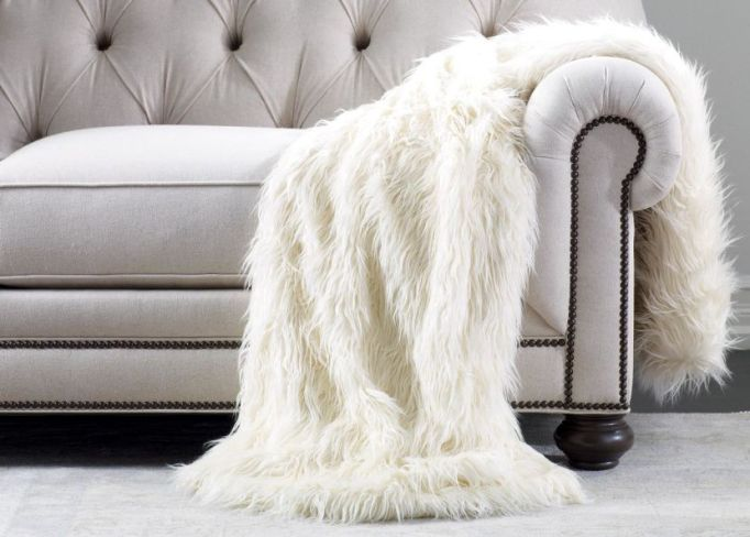 Luxe Throws For Your Bed or Sofa This Season | Ethan Allen Ivory Faux Fur Throw