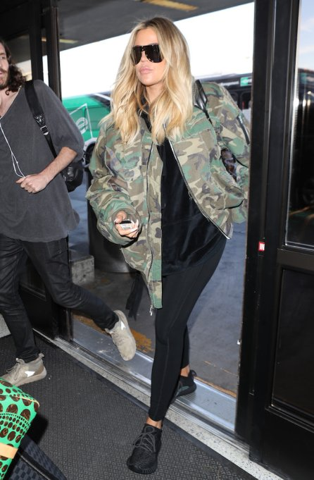 Khloé Kardashian spotted in army jacket and leggings