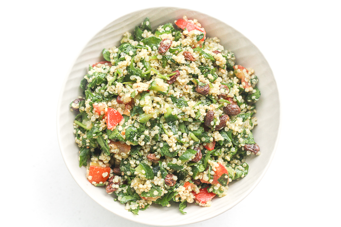 Quinoa spinach power salad with lemon vinaigrette from Ahead of Thyme