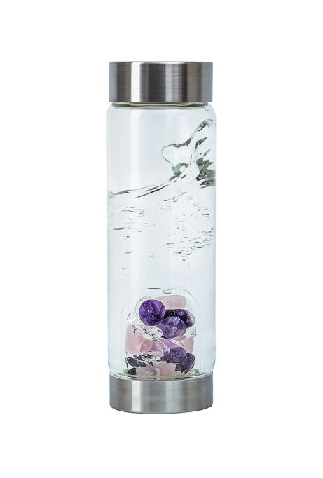 Water bottle with a crystal in it