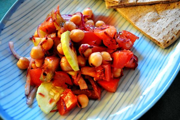 Tonight's Dinner: Indian garbanzo bean salad