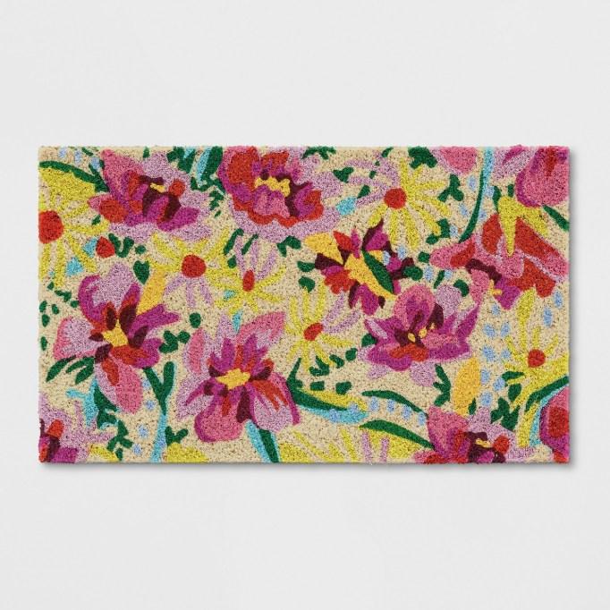 Pink Floral Tufted Doormat