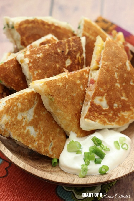Ranch chicken and bacon biscuit quesadillas