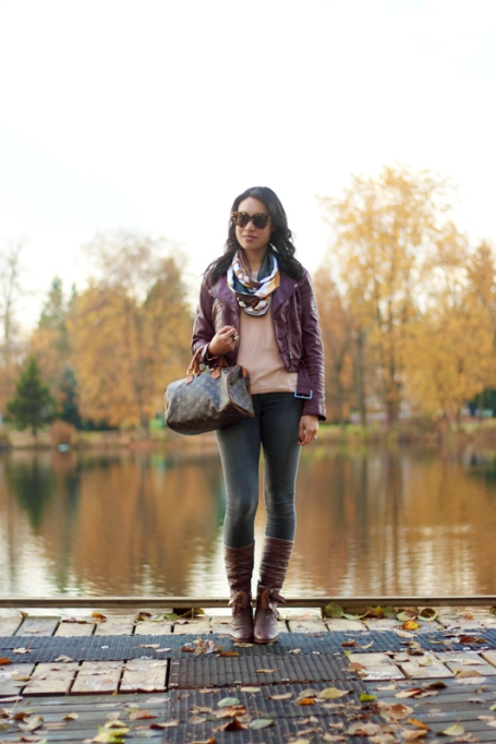 Ways to Wear an Infinity Scarf | Print Infinity Scarf Faux Leather Jacket Louis Vuitton Bag