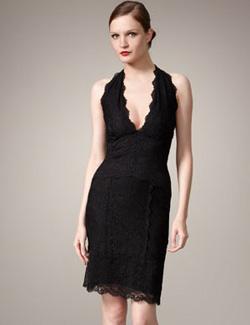 Nicole Miller scalloped lace halter dress