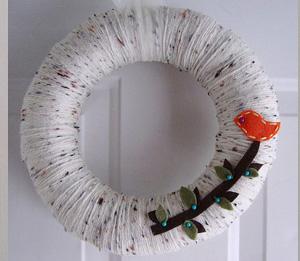 Bird on a branch spring yarn wreath