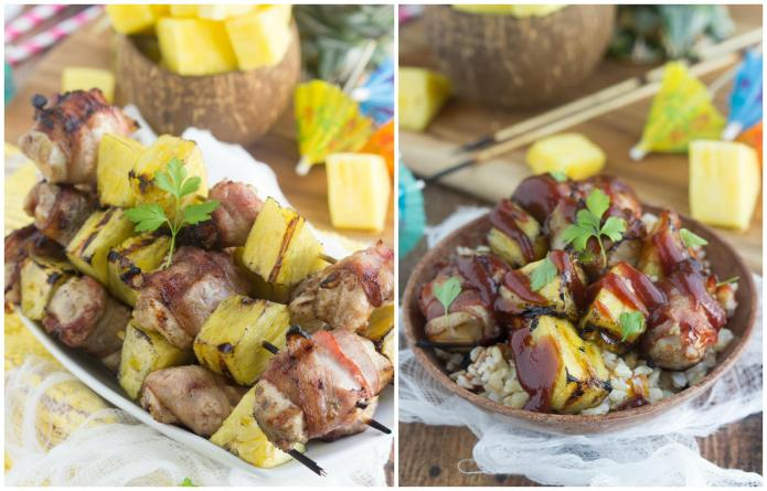 Quick bacon-wrapped chicken skewers with pineapple